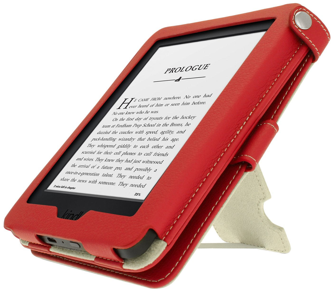 iGadgitz Premium Pink with White Polka Dot PU Leather Case Cover for New  Kindle 2014 (Touchscreen) 7th Generation with Viewing Stand + Auto Sleep/Wake + Hand Strap U3254