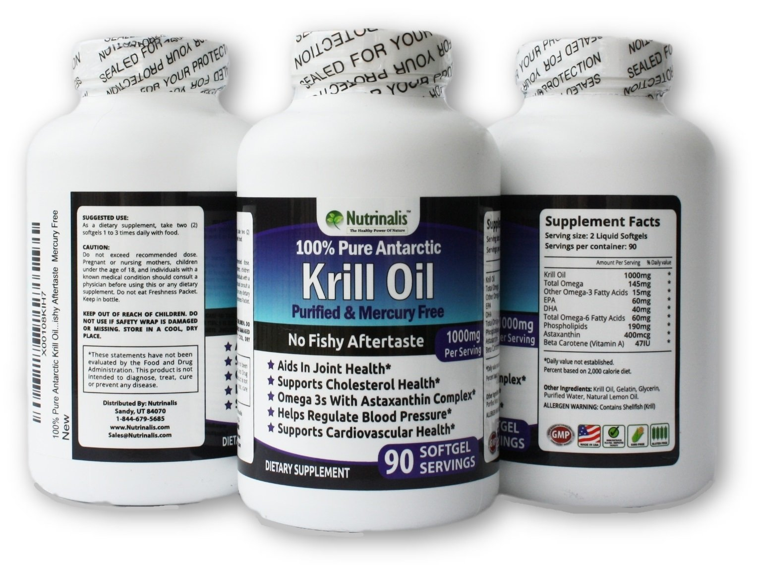 100% Pure Antarctic Krill Oil 1000mg per/serving With EPA/DHA & Astaxanthin NO Fishy Aftertaste NO Mercury, 360 Softgels (180 Servings)