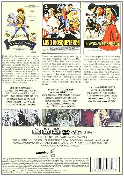 Amazon.com: Triple Pack Aventuras De Espadachines 1:La Mascara De Hierro+Los Tres Mosqueteros+La Venganza De Milady: Movies & TV