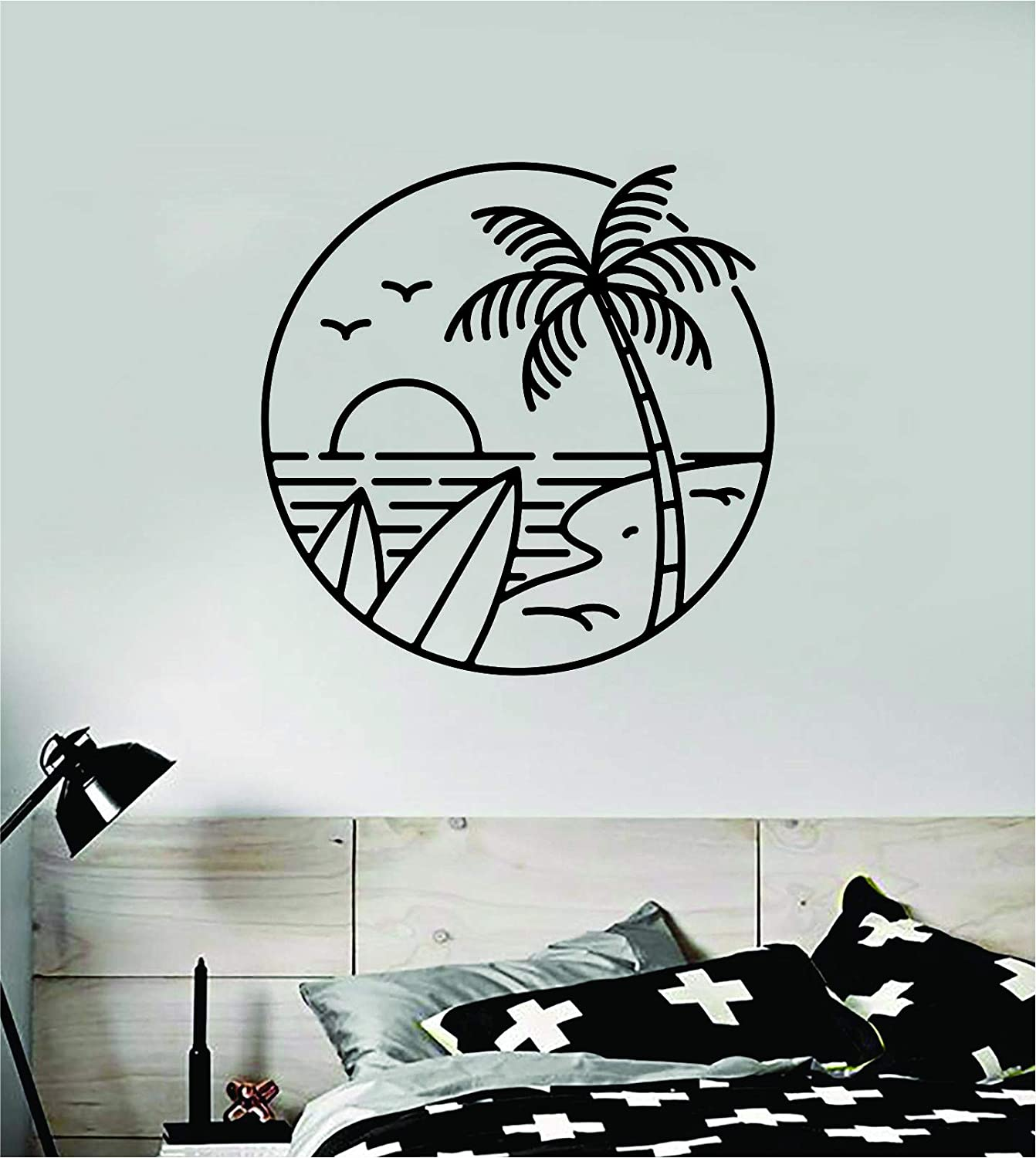 Surf Beach Circle Quote Wall Decal Sticker Room Bedroom Art Vinyl Decor Decoration Teen Inspirational Adventure Sports Ocean Beach Hawaiian Aloha Surf Palm Trees Beautiful Shop Shaka