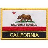 California State la bandera de Estados Unidos Rectangular parche bordado insignia