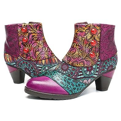 Socofy Bottes Femme, Bottines en Cuir A Talon Haut Boots Chaussures de  Ville Mustang Hiver