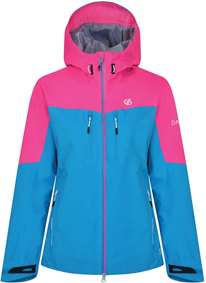 Dare 2b Women/'s Reconfine Lightweight Hooded Waterproof Jacket Blue and pink