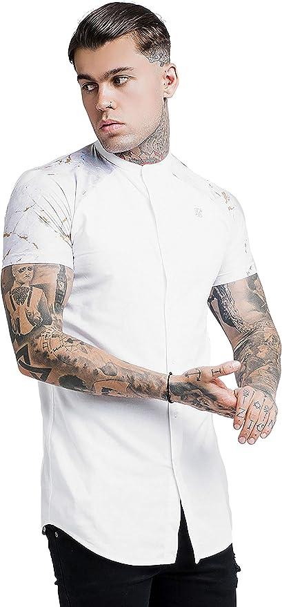 Sik Silk Hombre Camisa de Manga Corta con Cuello Abuelo de Marbleise, Blanco: Amazon.es: Ropa y accesorios