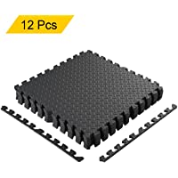 Homgrace Interlocking Floor Mat,Heavy Duty 60x60 Large EVA Foam Protector Puzzle Tiles Treadmill Pilates/Yoga Mats for Home Gym Training Exercise Fitness Workout 10mm Thick