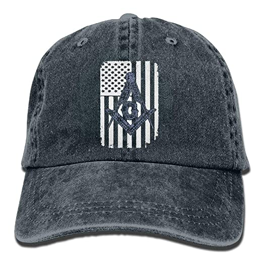 8c5e98cc0f6 Amazon.com  Freemason USA Flag Logo Vintage Jeans Baseball Cap ...