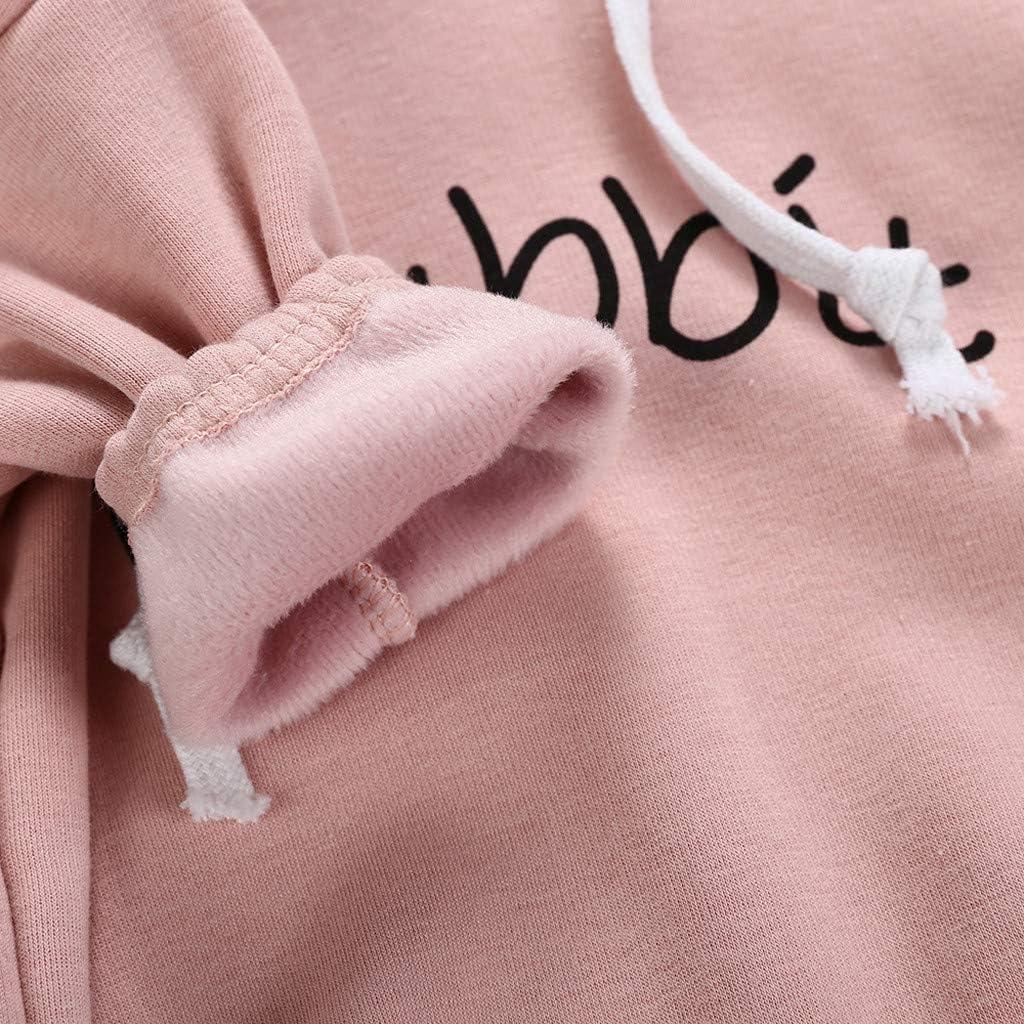 BingYELH Newborn Infant Baby Girl Boy Bunny Hooded Romper Rabbit Letter Hoodie Christmas Outfit