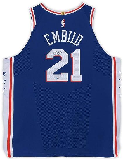 huge selection of 5a48a ba946 Joel Embiid Philadelphia 76ers Autographed Blue Nike ...