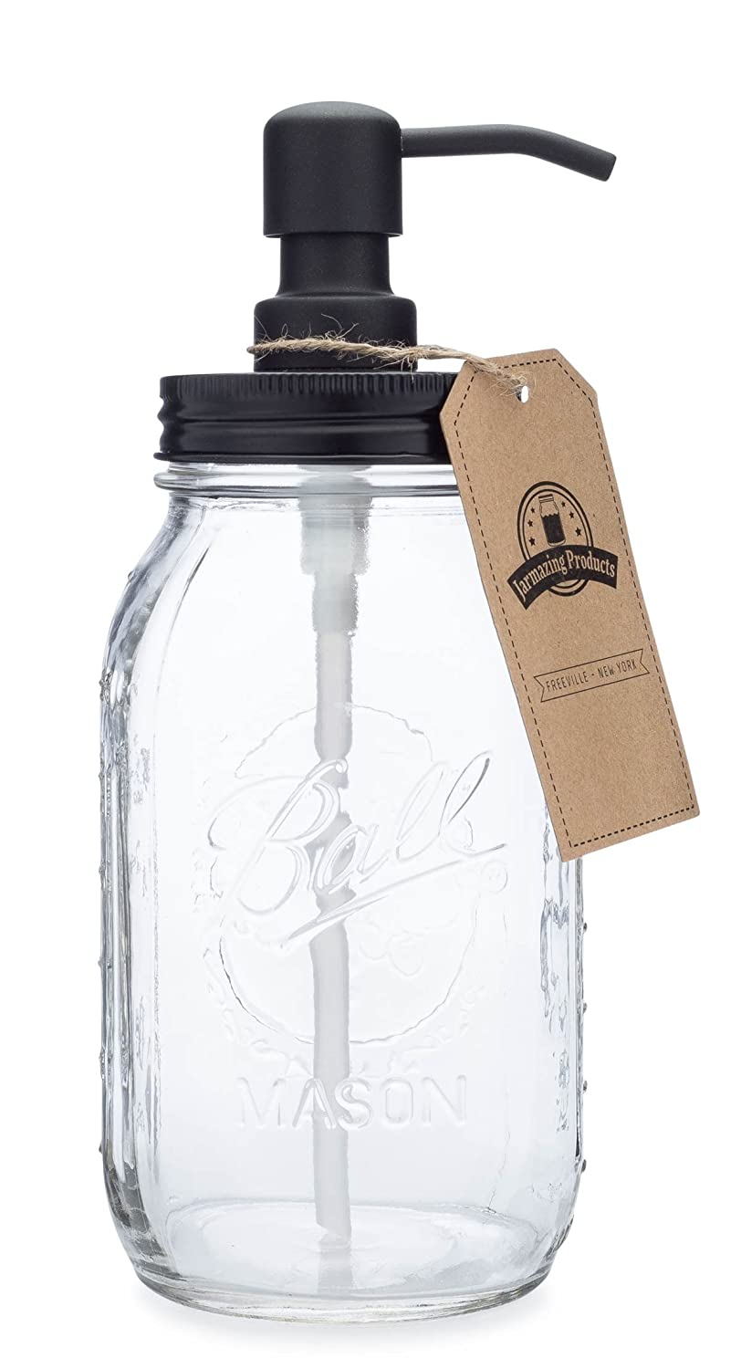 Quart Size Mason Jar Soap and Lotion Dispenser - Black - by Jarmazing Products - Made from Rust-Proof Stainless Steel