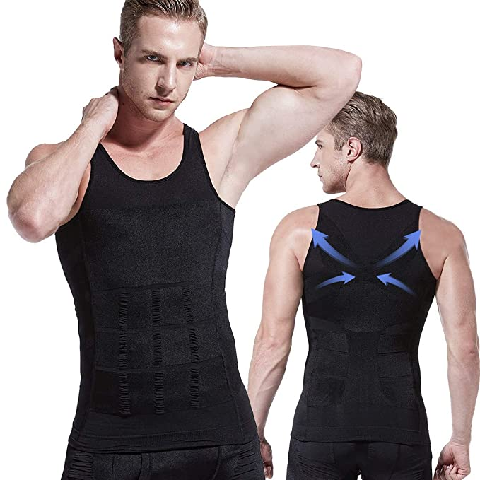 37ec3140967 Amazon.com  HÖTER Mens Slimming Body Shaper Vest Shirt Abs Abdomen Slim  (TOP Edition)  Clothing