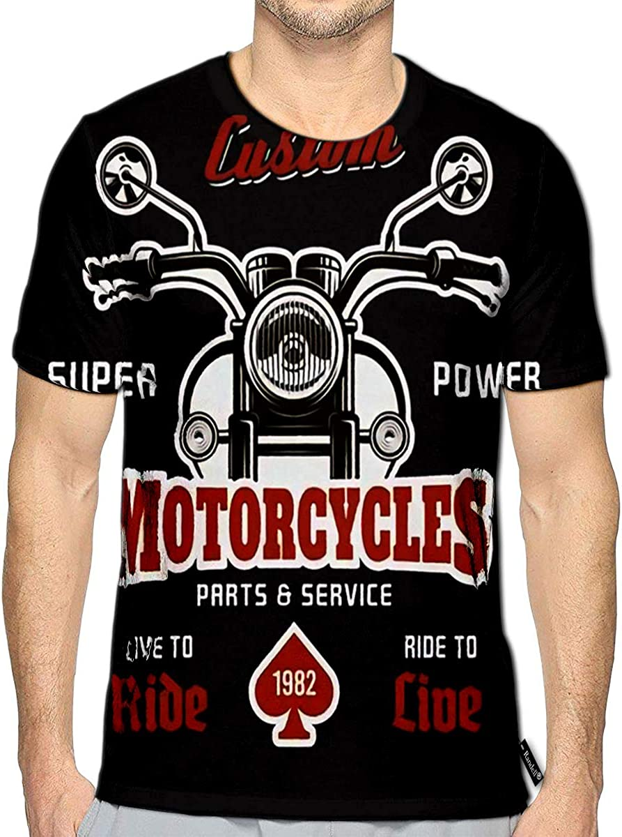 3D Printed T-Shirts Motorcycle Front View On Dark Print with Texture Separate La