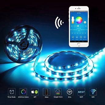 Guaiboshi Tira LED 5M Tiras de Luz Inteligente Impermeable con Wifi Controlador con Amazon Alexa Echo
