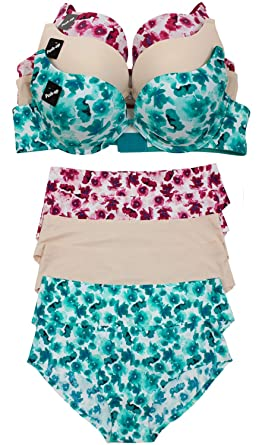 be5c1258ed Barbra s Floral Patterned 3 Pack Bras and 6 Pack Panties Set at ...