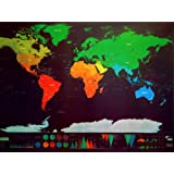 Amazon Price History for:Scratch off World Map, Amazing Present for Travelers, Kids and Family Fun, Large Scratchable Wall Poster, cross off Places you've Travel to, Bundle Includes Easy Scratcher Pen and Stickers