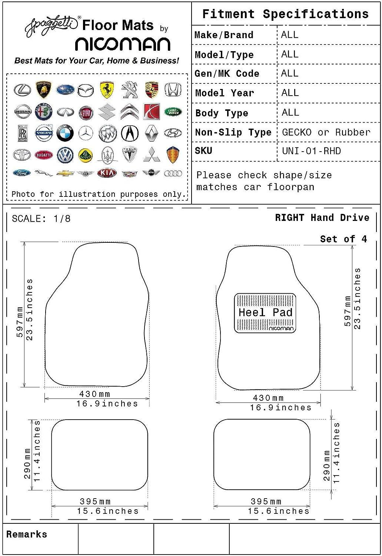 8mm Thick Nicoman Universal Car Non-Slip PVC Rubber Heavy Duty Easy Clean Floor Mat Black 4pcs Full Set