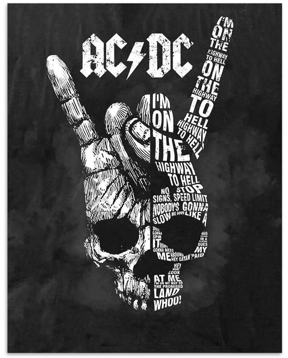 Perfect Gift For All AC//DC Fans. Home-Studio-Bar-Dorm-Man Cave Decor Iconic Rock Song Poster Print AC~DC Band Song Art PosterHighway To Hell- 8 x 10 Wall Print- Ready To Frame