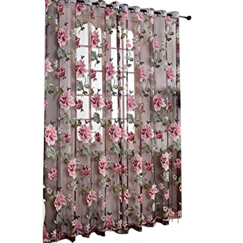 Delightful 2Pcs Window Curtain Transparent Peony Flower Windows Panel Balcony Living  Room Bathroom Bedroom Curtains Home Decoration