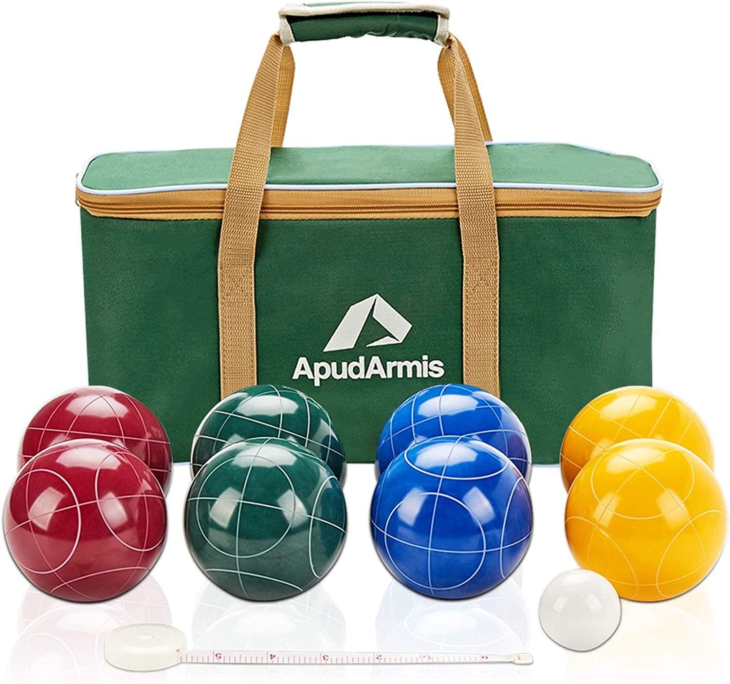 Apudarmis Bocce Balls Set Regulation Size 100mm Bocce Game For Outdoor Backyard Lawn Beach With 8 Pcs 100 Resin Balls 1 Pallino Nylon Carrying Case Measuring Rope Amazon Co Uk Sports Outdoors