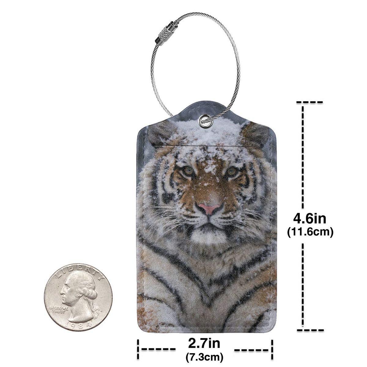 GoldK Cool Tiger Leather Luggage Tags Baggage Bag Instrument Tag Travel Labels Accessories with Privacy Cover