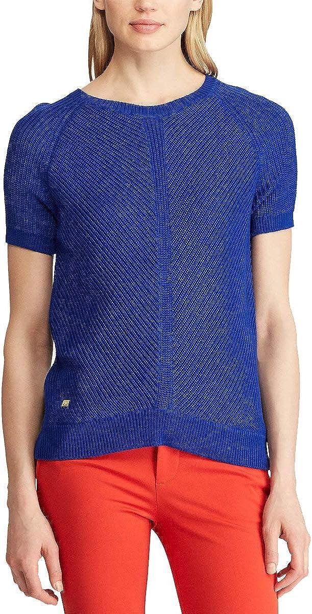 LAUREN RALPH LAUREN Womens Short-Sleeve Sweater (Deep Blue, Medium)