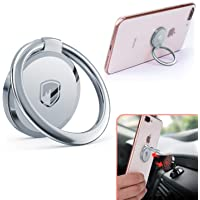 Phone Ring Holder Finger Kickstand - FITFORT 360° Rotation Metal Ring Grip for Magnetic Car Mount Compatible with All Smartphone-Rose Gold (Sliver)