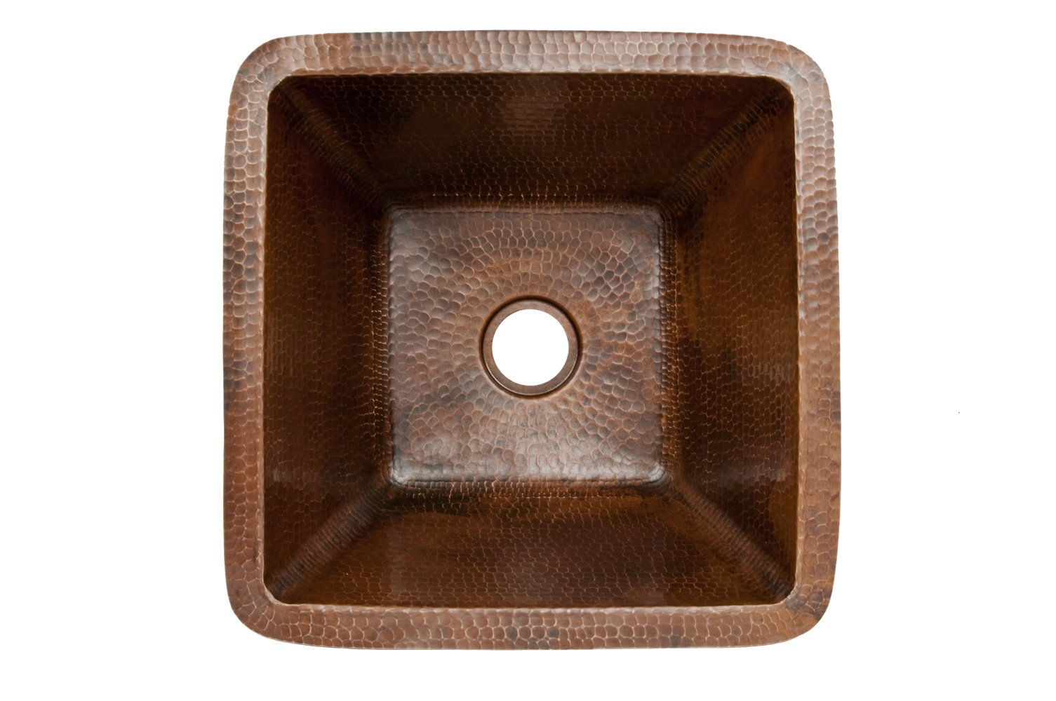 Premier Copper Products BS15DB2 15-Inch Universal Square Hammered Copper Bar Sink with 2-Inch Drain Size, Oil Rubbed Bronze by Premier Copper Products (Image #2)