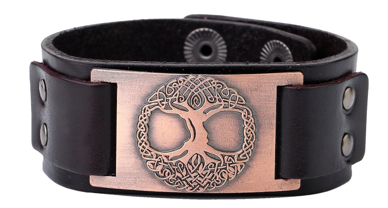 Árbol de la vida pulsera de piel Vintage ajustable pulsera para hombre Wicca, Wonen joyas