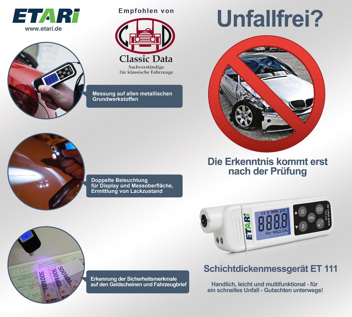 Etari ET 111 - Medidor de espesor de revestimientos: Amazon.es: Coche y moto