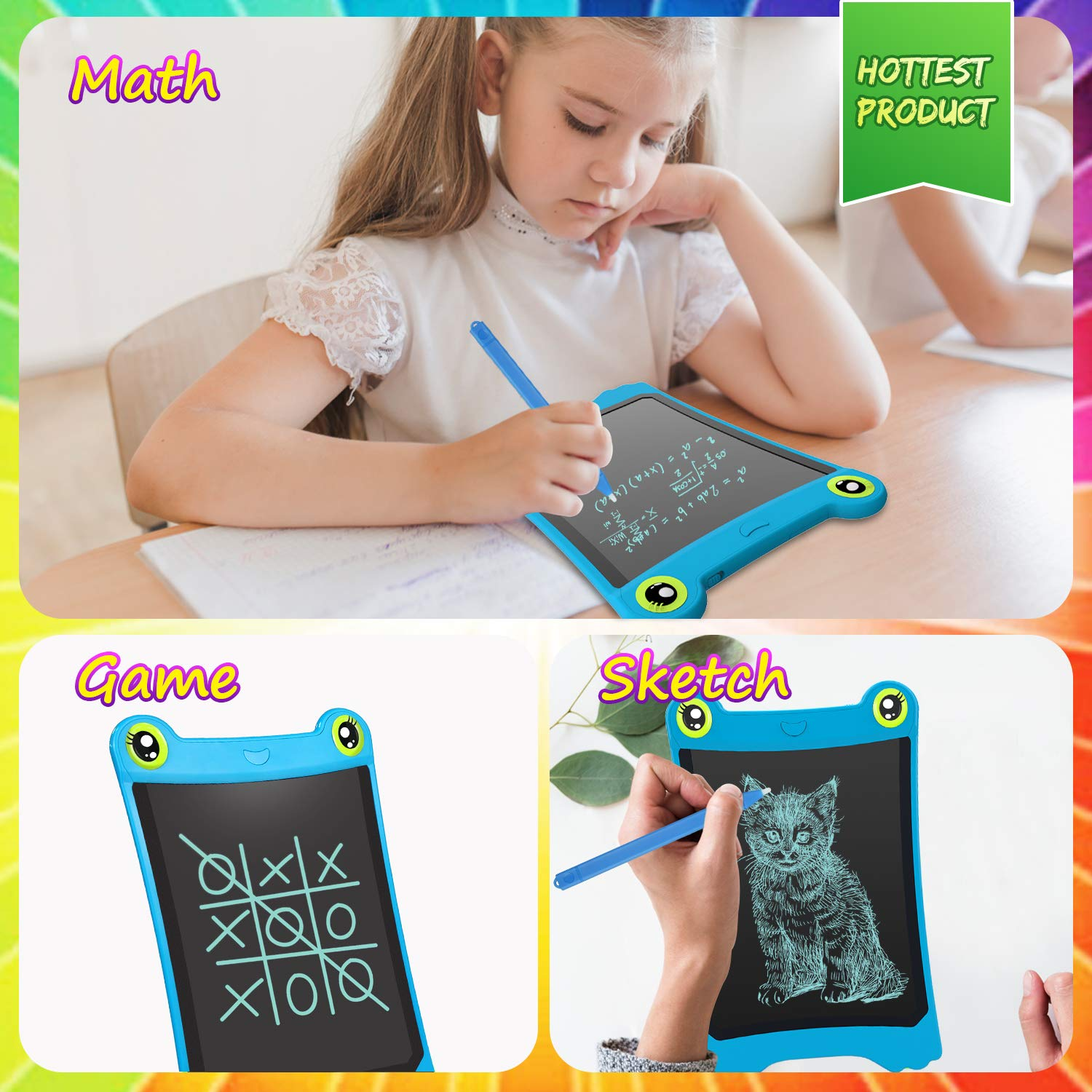 NEWYES 8.5 Inch LCD Writing Tablet Updated Frog Pad Children Electronic Doodle Board Jot Digital E-Writer Kids Scribble Toy with Lock Function Blue by NEWYES (Image #6)