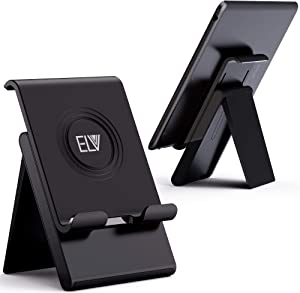 ELV Adjustable Cell Phone Stand - Foldable Portable Holder Cradle for Desk, Desktop Charging Dock - for Android, iPhone, iPad, Tablets, eReaders Smartphones (Black)