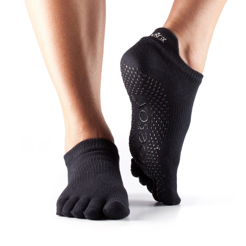 EQLEF Men Yoga Socks 5-toe with Full Grip 2 Pairs Non-Slip Grip Anti Skid Medium