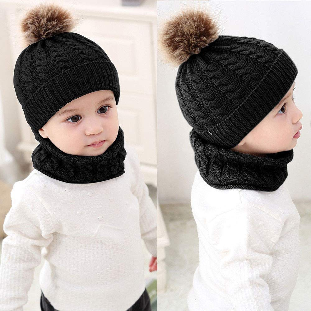 6501bf51a Amazon.com: 2Pcs Kids Winter Knitted Hats+Scarf Set Warm Beanie Cap ...