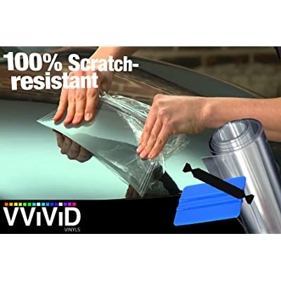 VViViD Clear Paint Protection Bulk Vinyl Wrap Film 4 Inches x 120 Inches Including 3M Squeegee and Black Felt Applicator: Automotive