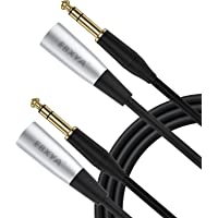 EBXYA - Cable de micrófono TRS a XLR macho de 3 pines, 2 paquetes