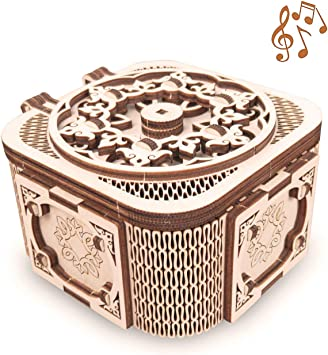 GuDoQi Puzzle 3D Madera, Maqueta Mecanicas de Cofre del Tesoro con Música para Montar, Rompecabezas Madera 3D para Construir, Kit de Manualidades DIY, Juguete de Montaje, Pasatiempos para Adultos: Amazon.es: Juguetes y