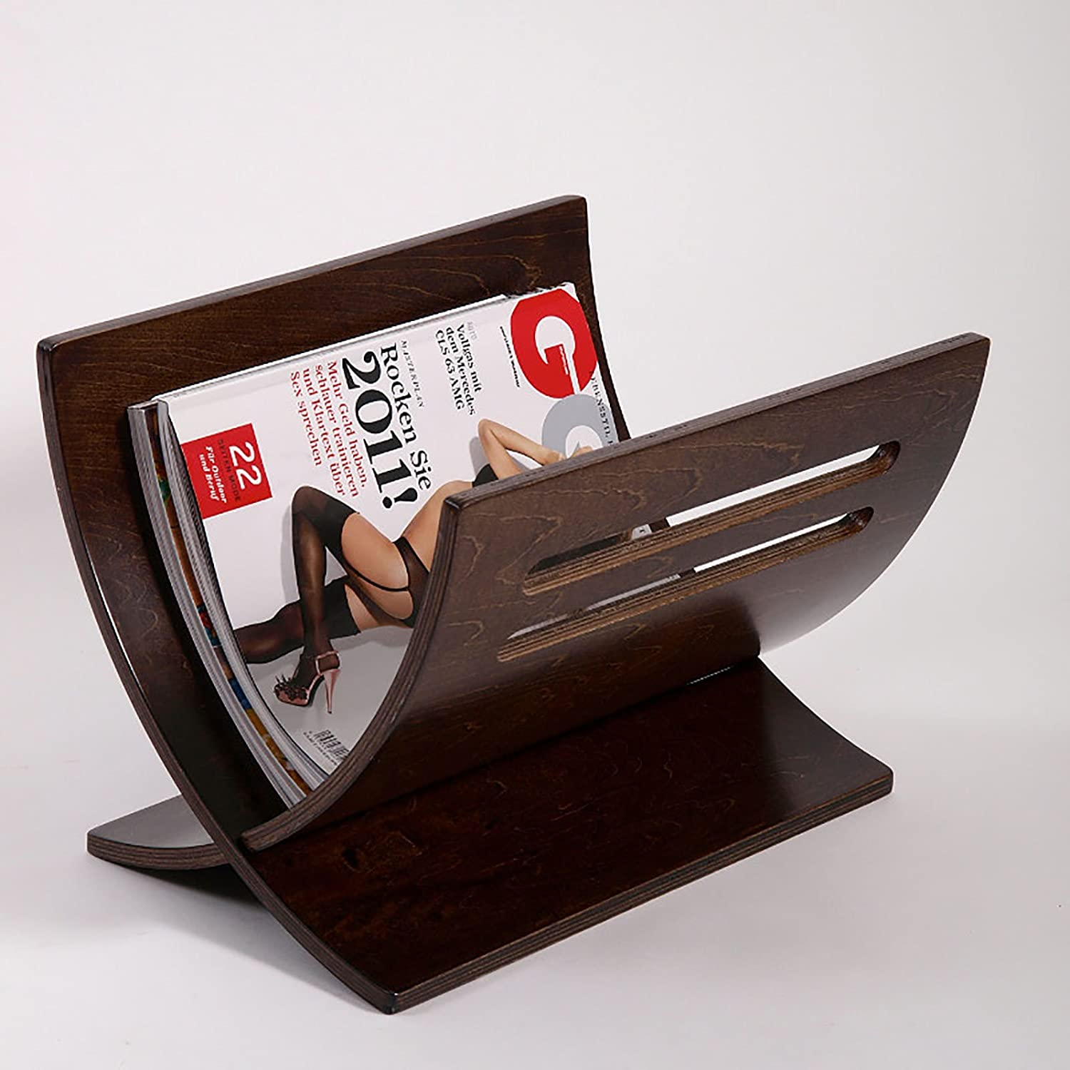 DESIGN NEWSPAPER & MAGAZINE RACK HOLDER NEWS WOOD plywood basket from XTF24 retro-brown XTRADEFACTORY GMBH