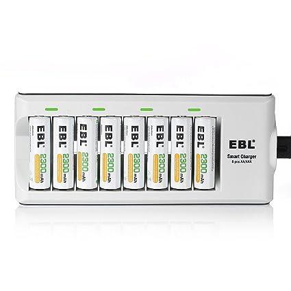 EBL Cargador con 8 Recargable: Amazon.es: Electrónica