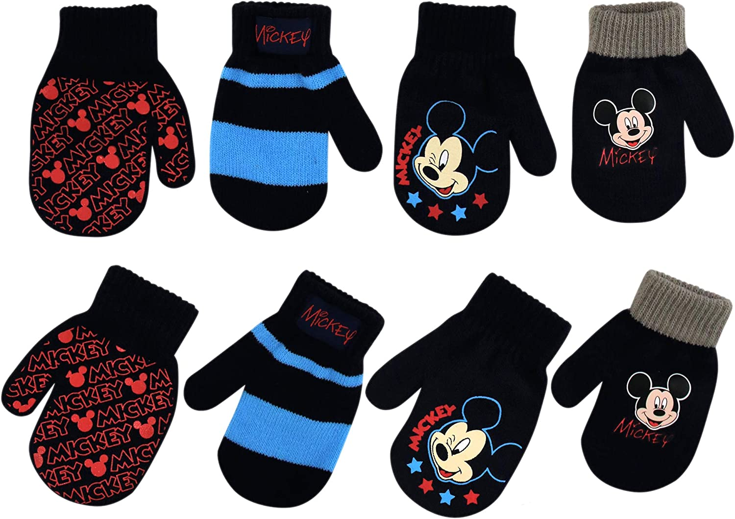 Disney Boys 4 Pack Mitten or Glove Set: Mickey Mouse, Cars Lighting McQueen (Age 2-7): Clothing