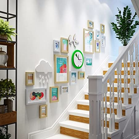 WUXK La escalera decoración mural foto versión vertical de creative reloj de pared la pared está decorada en un moderno y sencillo photo frame combinación fresca pequeña pared, B: Amazon.es: Hogar