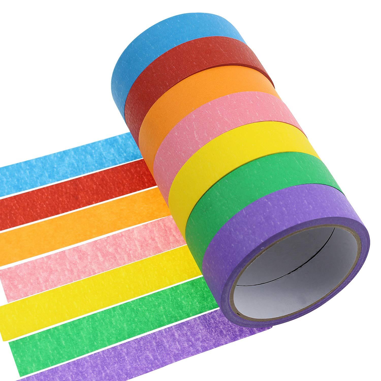 Meetory 7rotoli carta 2, 5cm nastro di mascheratura colorato arcobaleno Labeling tape rotolo di nastro di arte grafica per fai da te e regali Warping