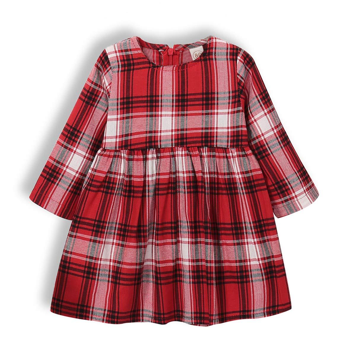 BELS Toddler Baby Girl Christmas Clothes Red Plaids Long Sleeve Princess Autumn Tutu Dress