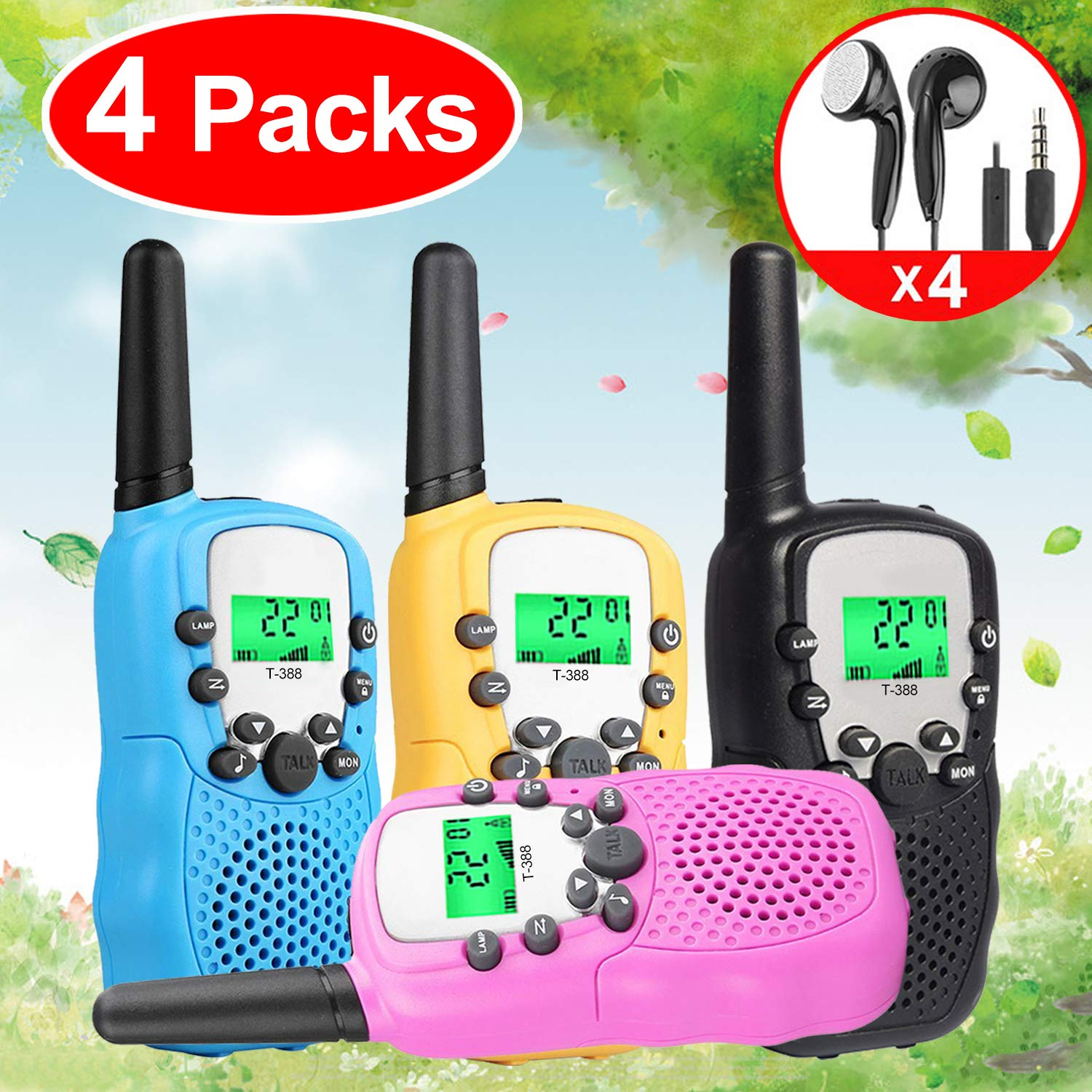 Kids Walkie Talkies Toys for 3-12 Year Old Boys Girls Toddlers, 4 Pack Walkie Talkies with 4 Earphones, 3 Mile Range 22 Channel Flashlight Two-Way Radio, Accessory for Outdoor Adventure Camping Game by iGeeKid (Image #9)