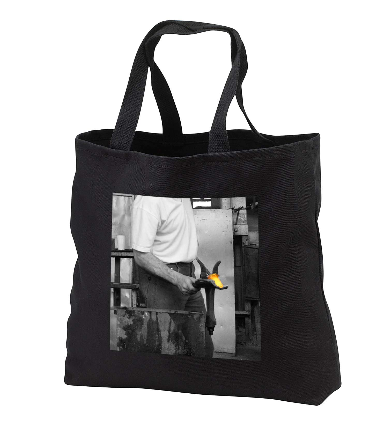 Jos Fauxtographee- Unsaturated with Glow Glass - A man in Ireland blowing some glass with the hot part gold - Tote Bags - Black Tote Bag 14w x 14h x 3d (tb_293691_1)