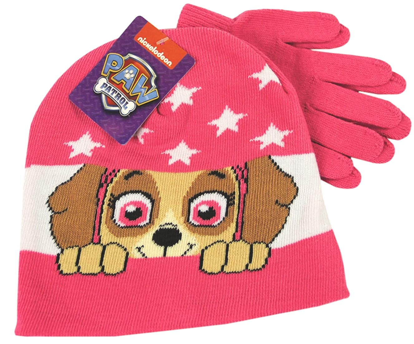 Paw Patrol Skye Pink Winter Beanie Hat & Gloves Childrens Official Set 56889