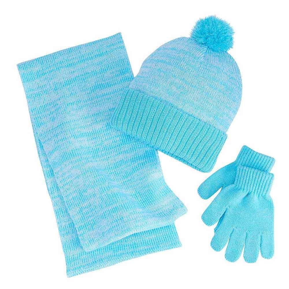 Berkshire Fashions Girls Winter 3PC Set Sparkle Hat Gloves Scarf