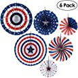 PBPBOX 4th of July Decorations Paper Fan for Patriotic Decorations, Independence Day Party Supplies