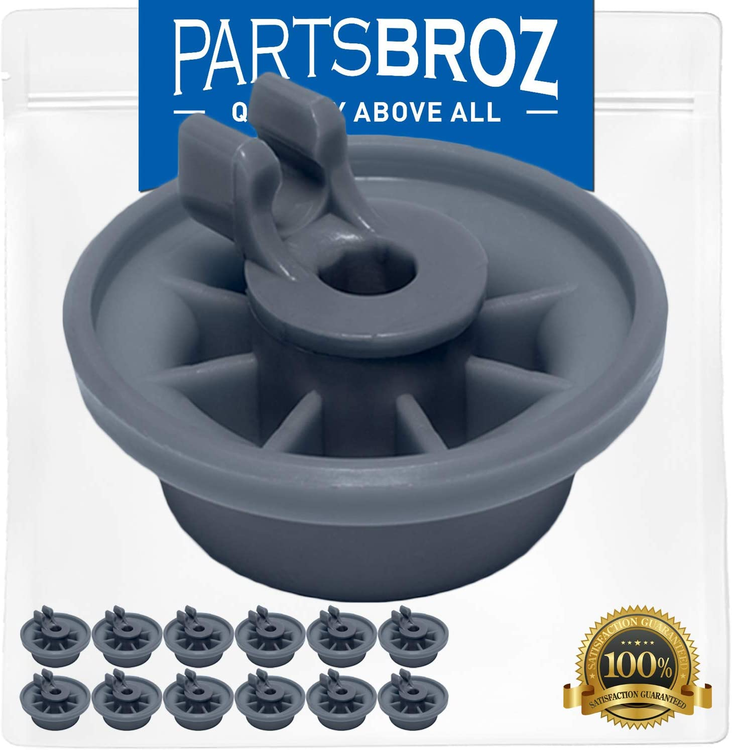 165314 Dishrack Roller (12-Pack) by PartsBroz - Compatible with Bosch Dishwashers - Replaces AP2802428, 00420198, 165314, 420198, 423232, AH3439123, EA3439123, PS3439123, PS8697067