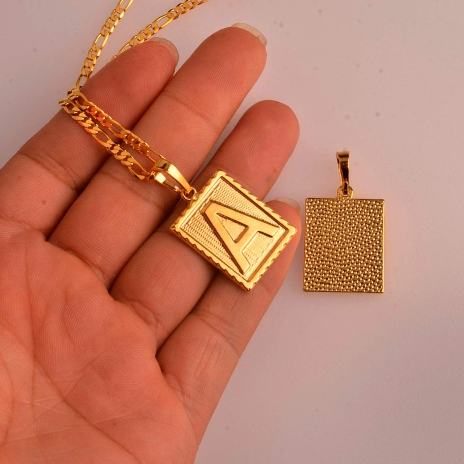 a Z Square Letters Necklace Gold Color Initial Pendant Chain for Men Women English Letter Alphabet Jewelry Gifts #104006 Choose Letter E 45cm by 3mm Chain Pendant Necklace