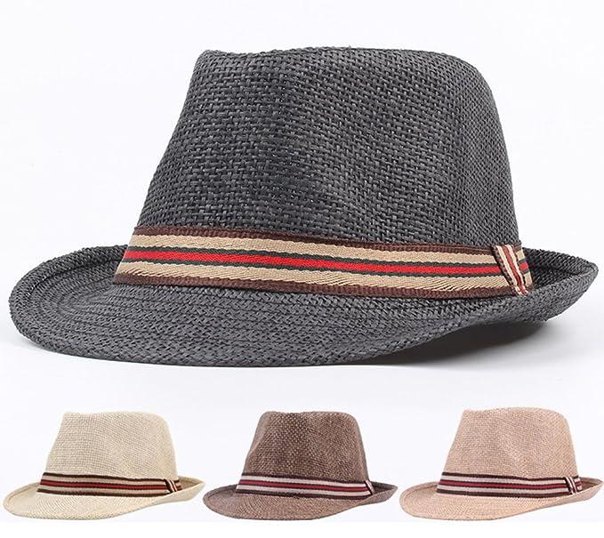 Roffatide Unisexo Paja Sombrero Trilby Fedora Verano Al Aire Libre Anti-UV Gorra de Sol Sombrero de Playa con Banda de Color iroZtTBG