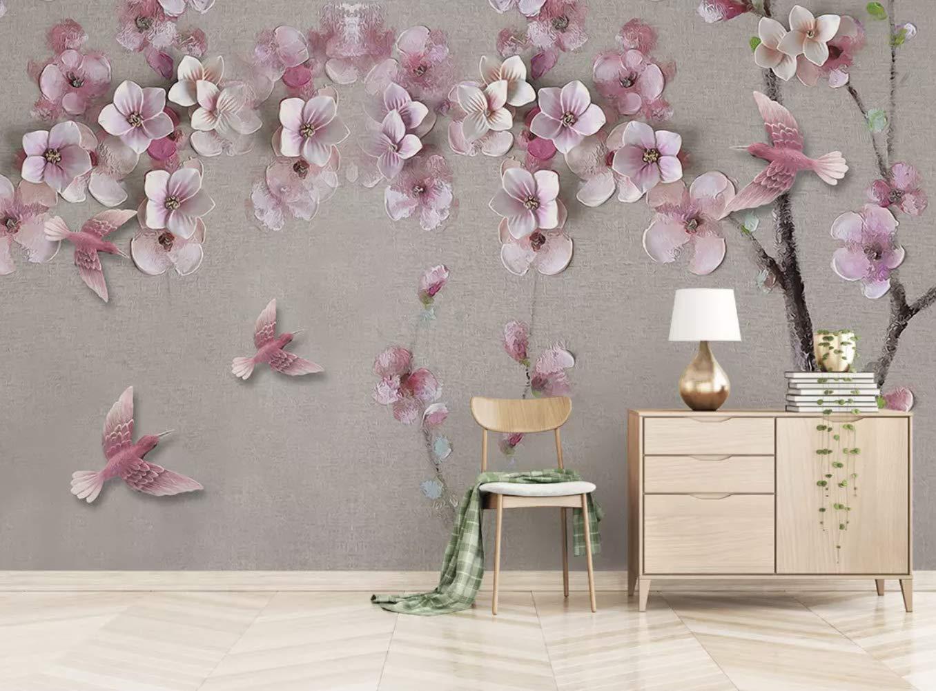 Amazon Com Murwall Floral Wallpaper 3d Cherry Blossom Wall Mural
